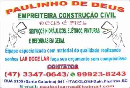PAULINHO DE DEUS EMPREITEIRA DE CONSTRUÇÕES CIVIL